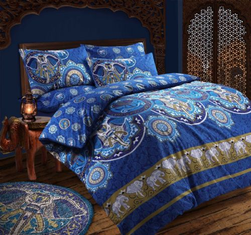 BLUE ELEPHANT INDAIN KASHMIR DESIGN REVERSIBLE BEDDING DUVET COVER SET